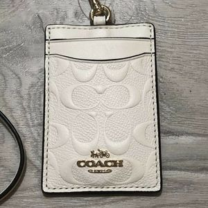 Coach Signature Lanyard ID BADGE Holder  White